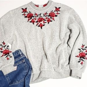 vintage embroidered rose crew neck sweater embroid